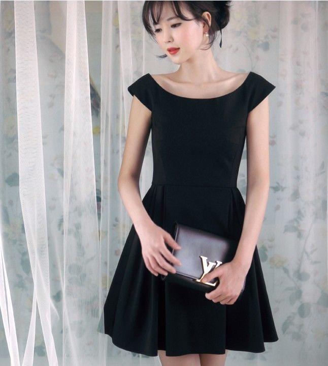 Womens Black Sexy A Word Collar Noble Elegant Short Sleeve Princess Dress #Unbranded #fashion #Casual