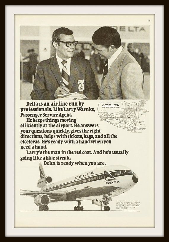1973 Delta Airlines Advertisement. Vintage Travel ad. Vintage Delta Airlines ad. Vintage airline ad. Delta DC-10 ad
