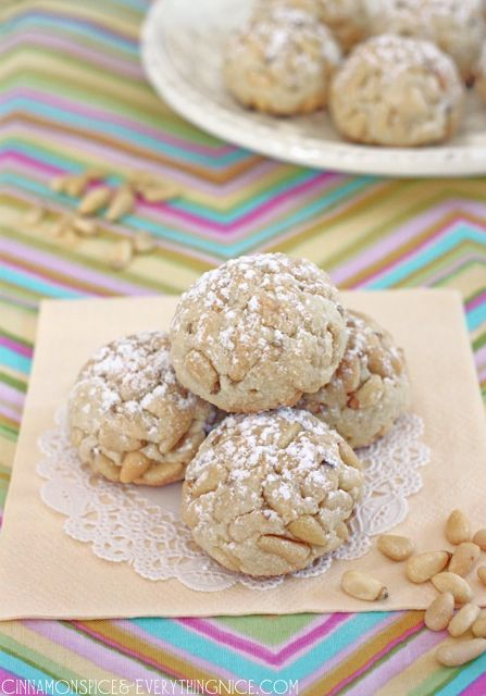 Pignoli Cookies - I know my hubby would love me to make these!  Includes a link for homemade almond paste... I do think I could THMify them