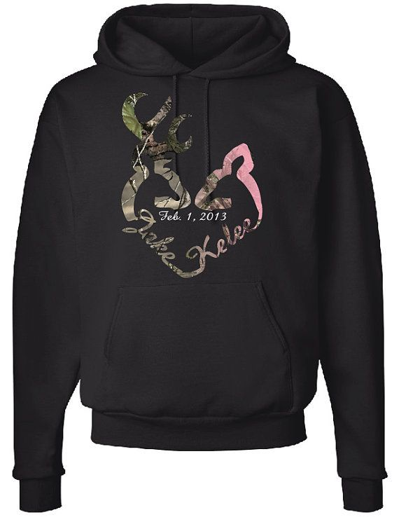 Love Logo Hoodie, Includes Custom Names in heart & date in the middle, Camo Design on Etsy, $57.10 CAD