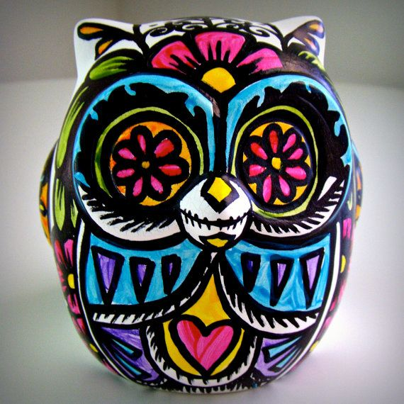 Ceramic Owl Painted Day of the Dead Sculpture if you ever had a pet owl or a live owl you loved-remembered
