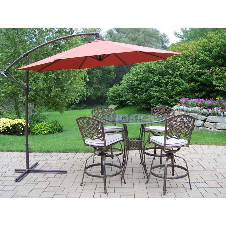Outdoor Oakland Living Hummingbird Mississippi Cast Aluminum Swivel Patio  Bar Set With Cantilever Umbrella   Seats