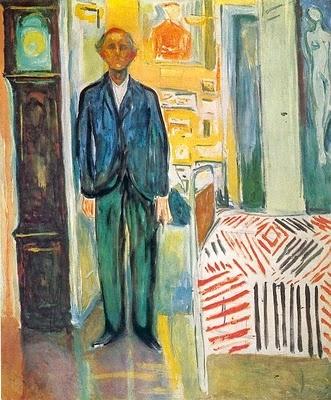 Autorretrato entre el reloj y la cama (1942, óleo sobre tela, Museo Munch)