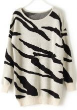 Black Apricot Zebra Stripes Long Sleeve Sweater 0.00 #SheInside