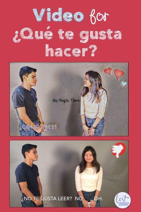 """This, """"¿Qué te gusta hacer,"""" Spanish video by Angie Torre is perfect comprehensible input for the verb, """"gustar"""". Jessica and Óscar talk about what each likes to do. Jessica has a crush on Oscar so she asks him what he's like and what he likes to do. She loses her interest, however, when she finds out he does not enjoy one of her favorite pastimes. Click here to see what else is included."""