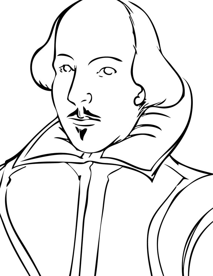 good coloring page of shakespeares face if you have to do a project or