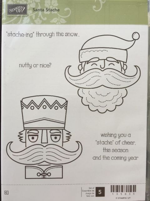 """SANTA STACHE"" Stampin'UP! NEW~CLEAR/CLING unmounted-Christmas`sayings`Mustache"