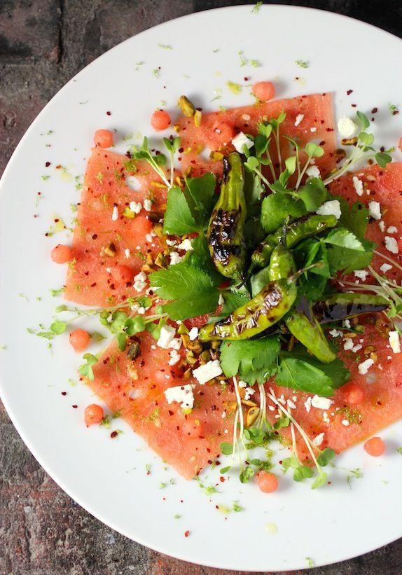 Watermelon Carpaccio ~ Blistered Shishito Peppers, Mitsuba, Pistachio, Feta, Lime Vinaigrette, Korean Red Chili Powder, Lime Zest #summerfest #watermelon