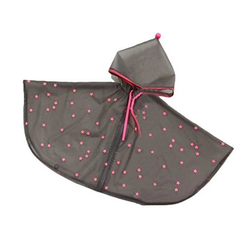 Rc29 Kids Raincoat Fashionable Rain Cape Poncho Raincoats Gray with Pink Stars L * Details can be found by clicking on the image. This is an affiliate link.