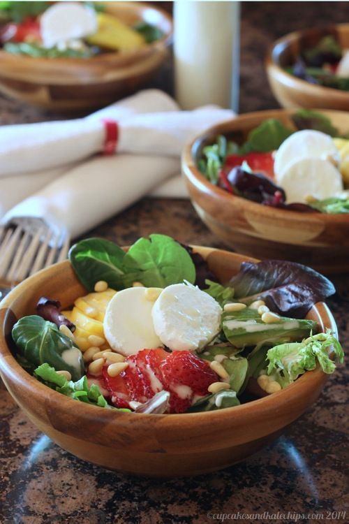 Strawberry Mango Avocado Salad with Pine Nuts  Goat Cheese has all the flavors of summer in a bowl!