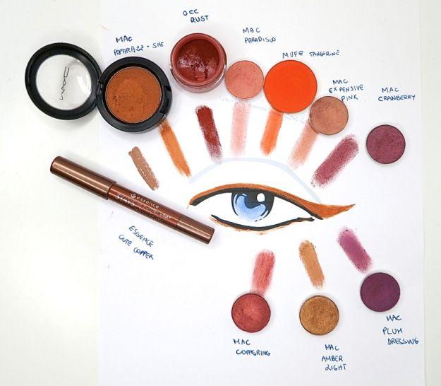 ombretti aranciati per occhi azzurri