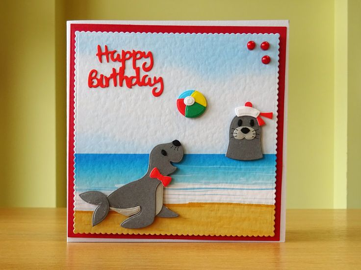 Birthday Card - Marianne Sea lion Die. For more of my cards please visit CraftyCardStudio on Etsy.com.