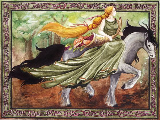 "Epona (Celtic) - Protector of horses, donkeys, and mules.  She was also an ancient fertility Goddess.  Epona's Goddess name comes from the Gaulish word epos meaning ""great mare."""
