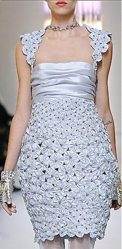 Chanel silver fashion runway dress