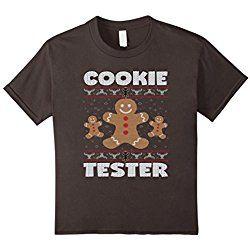 Kids Cookie Tester Funny Holiday Jumper Ugly Christmas T-Shirt 8 Asphalt