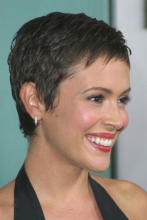 Alyssa Milano short hair right side view