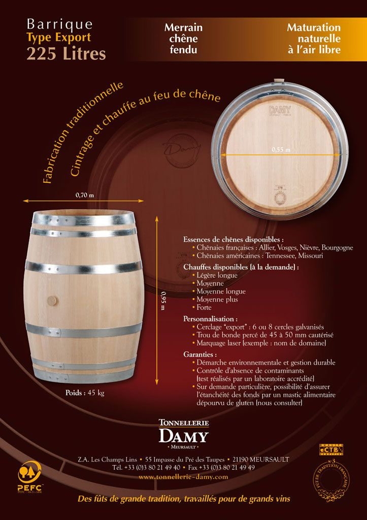 Barriques bordelaise en chêne français - Tonneau et barrique Bordeaux (225 L.) | Tonnellerie Damy, fabriquant de tonneau et fûts de chêne en Bourgogne (France)