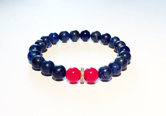 Bracelet for him. BLUE, RED, DIAMOND bracelet. Blue and red bracelet with diamond, lapis, coral and diamond bracelet by pearlanajewelry. Explore more products on http://pearlanajewelry.etsy.com