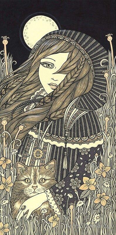 Freyja and cat under a full moon. #Freyja #GoddessAlive