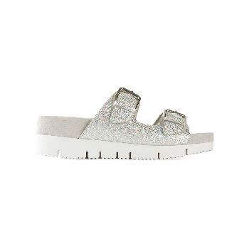 Ash 'Texmex' Sandals : Ash Takoon buckled sandals coated in a silver multi-coloured glitter are a trend focused piece for SS15. In eye-catching glitter and featuring a double height flatform sole, these are a street style favourite and will provide an instant new season update to your favourite t shirt and jeans combo.