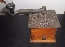 "Antique Victorian COFFEE GRINDER circa 1900 Steel & Wood 8-1/2"" Tall 6"" W 6"" D"