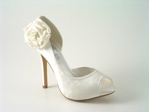 Ladies Ivory satin flower side high heel wedding bridesmaid shoes: Amazon.co.uk: Shoes & Bags