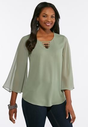 2451f64dd1c Plus Size Sheer Bell Sleeve Blouse Shirts   Amp   Blouses Cato ...