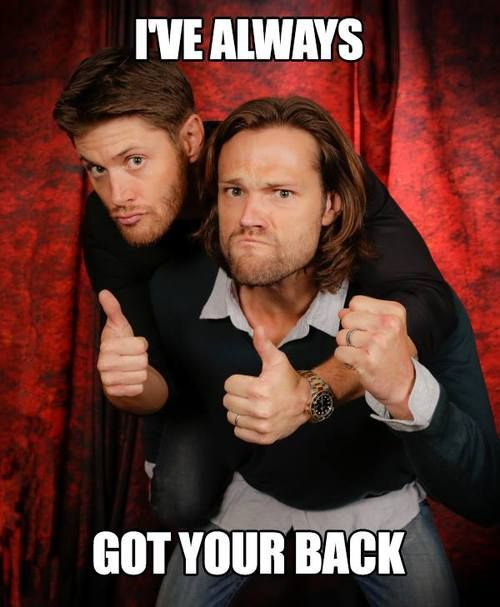 Jensen Ackles has my back...literally :) SPN Family always has your back y'all, and you've always had ours! Jared Padalecki, September 2016