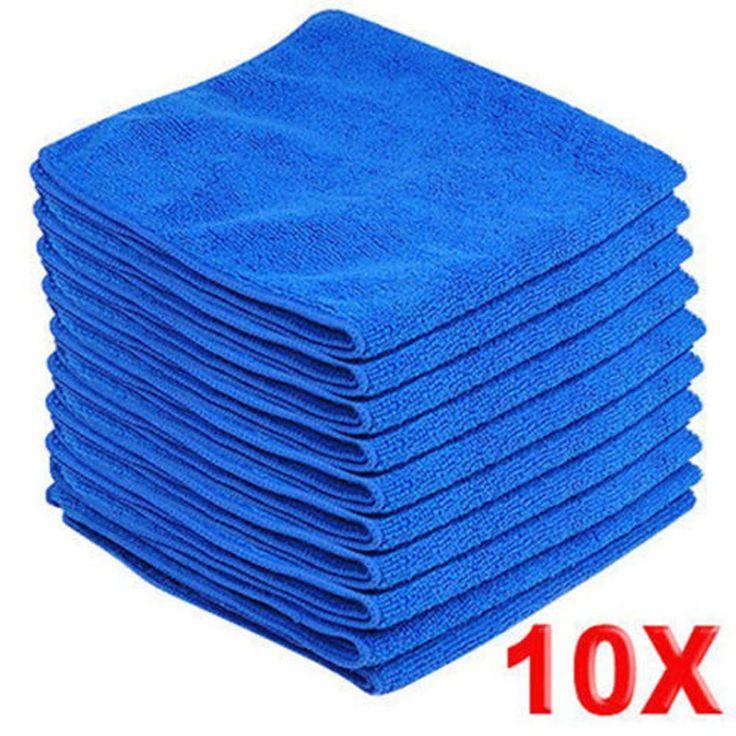 10 pz In Microfibra Lavaggio Asciugamani Puliti Blu Mobili Auto Spolverino Pulizia Morbido Panni 30x30 cm