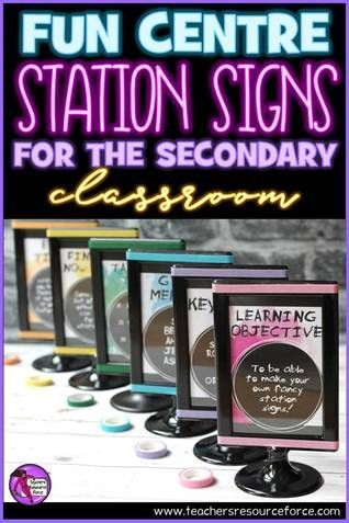 Fun centre station signs for the secondary classroom! @resourceforce