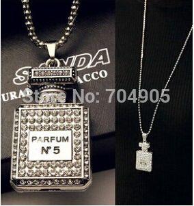 Fashion Brand Design Sliver Plated Long Elegant Perfume bottles Pendant Necklace…