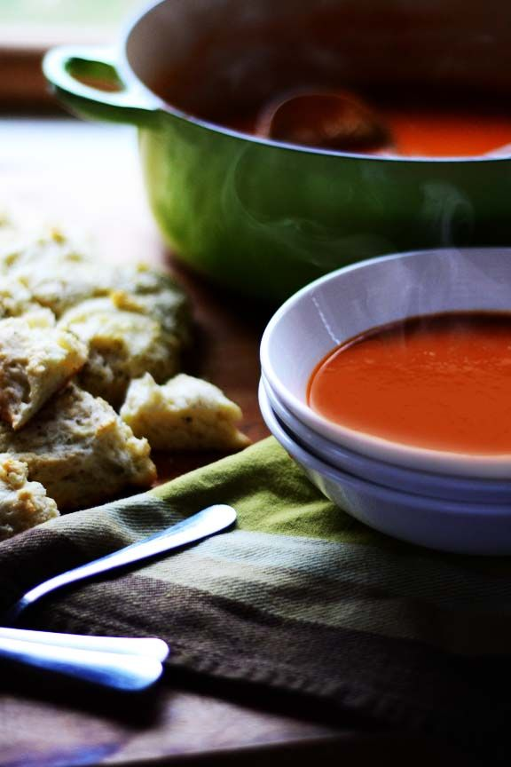 Cream of Tomato Soup with Savory Scallion Biscuits