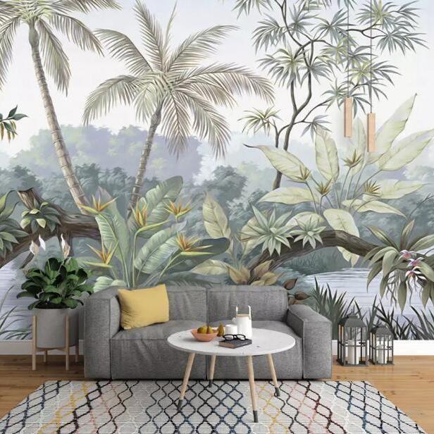 Impressive Pastel Forest Mural Wallpaper Leaf Mural Wallpaper