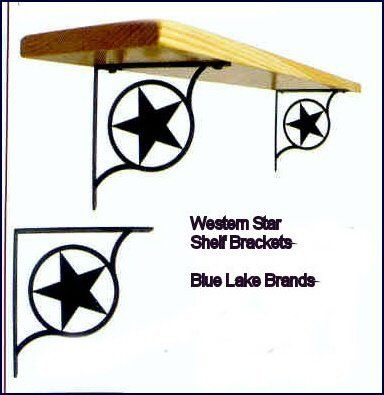 Western Star Shelf Support by Maine Home Journal. $53.50. Finish is baked on for durability.. Crafted from Iron with a black matte finished.. Made in America. This decorative iron shelf support has a baked on flat black powder coating for the traditional ironwork look. This fine iron product is made in America.