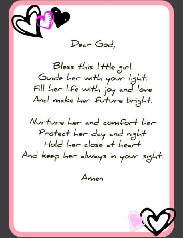 Little Girl Prayer Prayers Angel Prayers Baby Shower