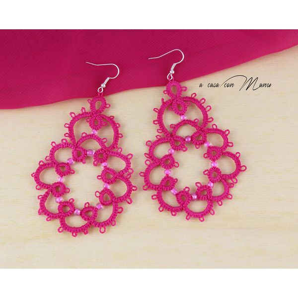 Drop oorbellen, hanger oorbellen, lace tatting, tatting lace oorbellen... ($14) ❤ liked on Polyvore featuring lace earrings and lace jewelry