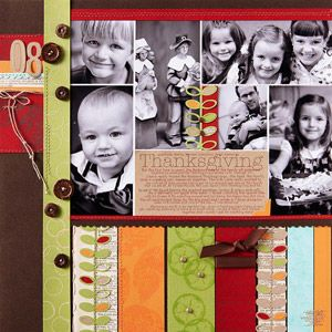 Stamped Thanksgiving Scrapbook Page