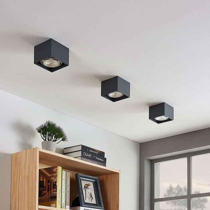 Spot Pour Plafond Led Mabel Carre Gris Fonce De Lampenwelt Com Plafonnier Led Et Lampe Led