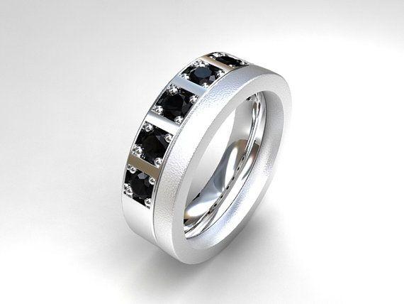 Men's palladium wedding band with 0.70ct Black diamonds by TorkkeliJewellery, $2590.00