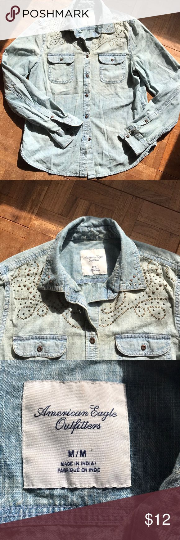 American Eagle Outfitters Jean Button Up Super cute jean shirt with cute designs on the shoulders. Great condition!! Make an offer or bundle! American Eagle Outfitters Tops Button Down Shirts #americaneagleoutfitters