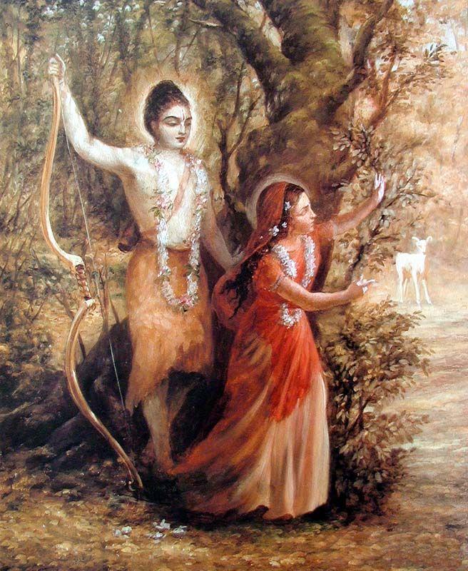 Sita amazed seeing golden deer