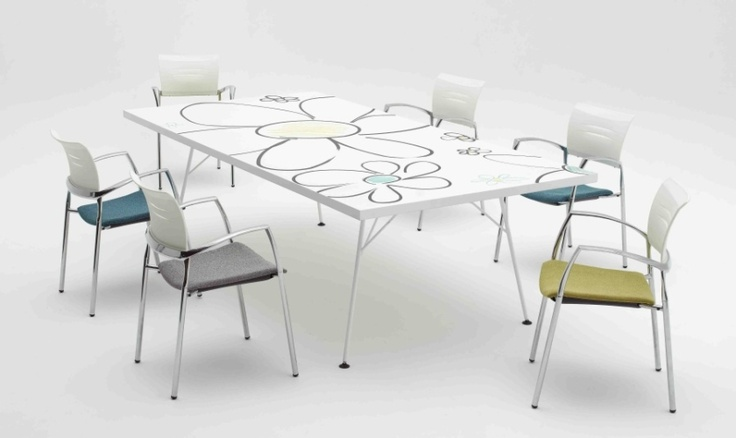Ergoform Office Furniture : Twiggy meeting table for the office. Green E1 rating board with graphic detail. a great meeting space for green offices.  http://www.ergoform.co.za/meetingrooms.htm