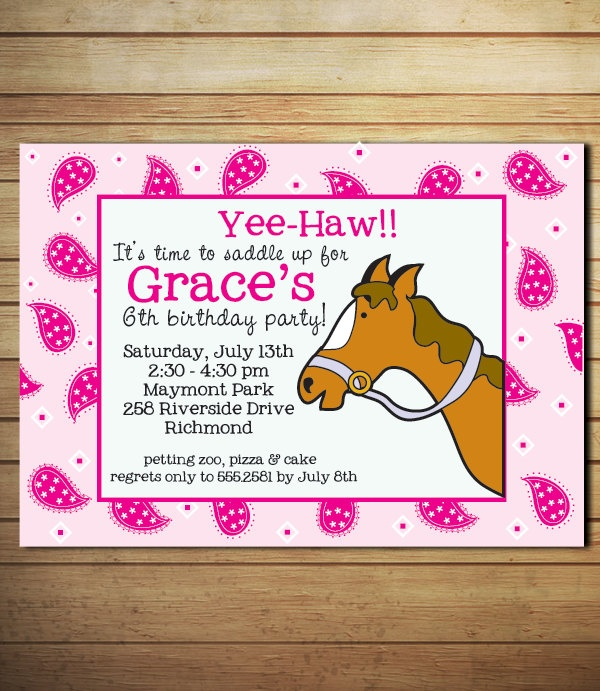 Cowgirl Horse Birthday Invitation - Personalized - Pink Paisley - Printable. $12.00, via Etsy.