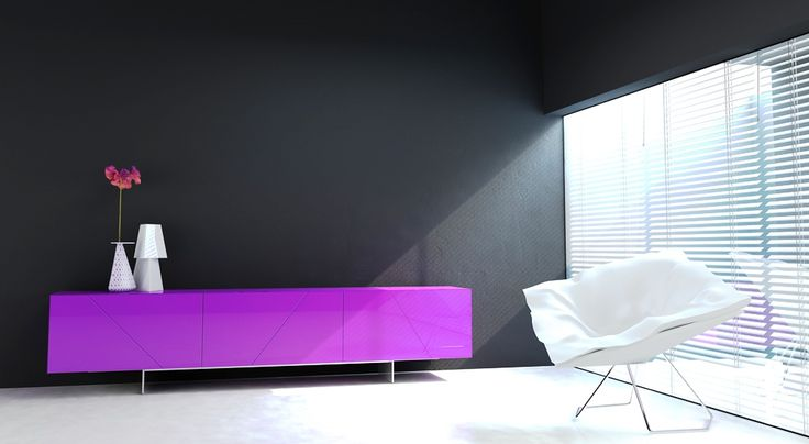 nabytok HANAK do obyvacky na mieru, lakovany soliter vo vyraznej fialovej farbe #URGELA#HANAK