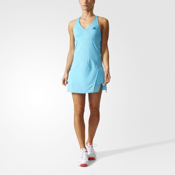 Take control of the rally in this women's tennis dress. This strappy dress cools you off and keeps you dry as you fight through a tough three-setter. Made of lightweight jersey that's sheer at the bottom, it has a three-in-one design that includes an adjustable bra and short tights for extra coverage as you slam serves.