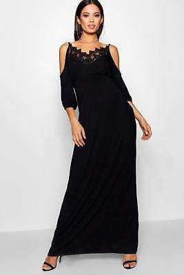 ddac69bdd36 Boohoo Womens Maternity Alice Lace Cold Shoulder Maxi Dress ...