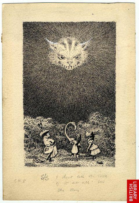 .    Alice in Wonderland: Cheshire Cat (via The British Library's Photos - Mervyn Peake archive | Facebook)