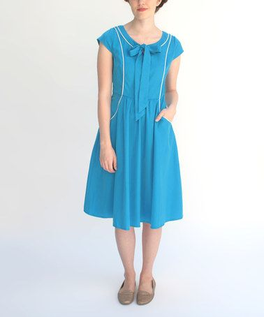 Look at this #zulilyfind! Bright Blue Tuesday Morning Dress by Frock Shop #zulilyfinds