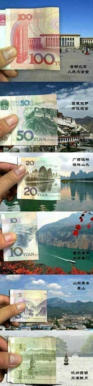 The real places that inspired the faces of Chinese Paper Currency. #ChineseDesign