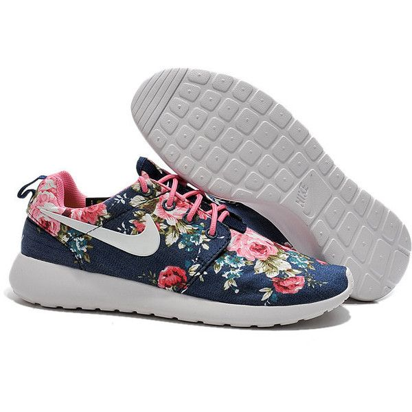 Custom Nike Roshe Run Sneakers Athletic Women Shoes With Print Fabric... ($90) ❤ liked on Polyvore featuring shoes, athletic shoes, black, womens shoes, flower shoes, floral shoes, running shoes, black running shoes and athletic footwear